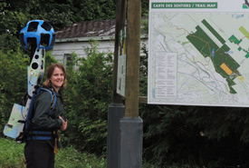 Annie Ferland with the Google trekker on Alfred-Kelly Nature Reserve, QC. (Photo by NCC)